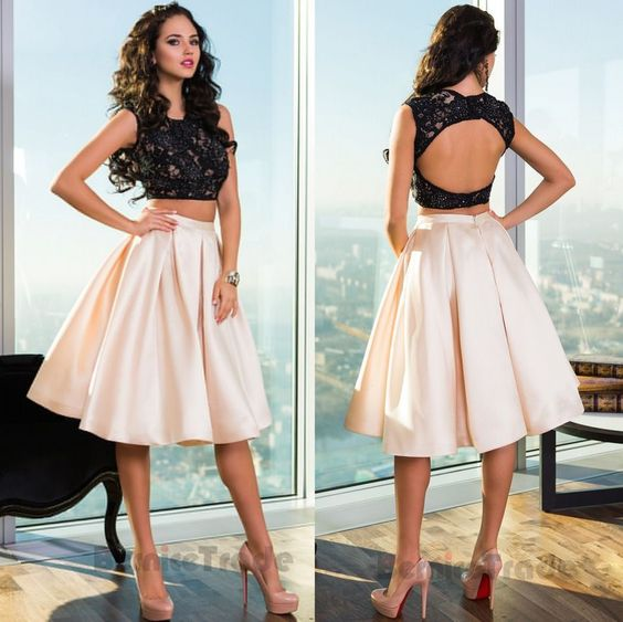 Details about Two Piece Homecoming Dresses Halter Cocktail Party Short  Graduation Gowns,homecoming dress,1751