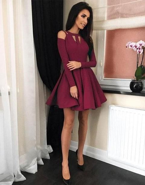 Simple burgundy short dress, short homecoming dress,1760