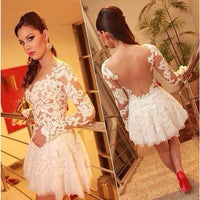 Sexy See Through Long Sleeve Lace Sexy White Appliques Homecoming Dresses,homecoming dress,1762