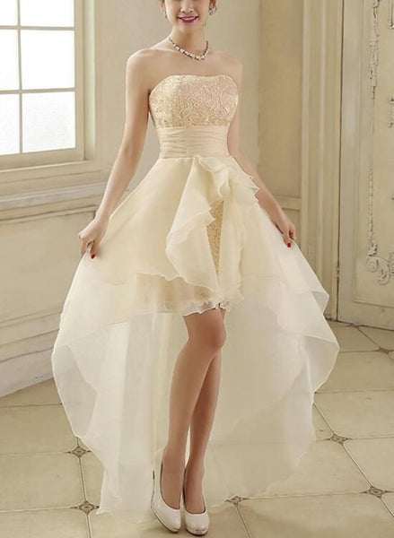 Organza and Lace Champagne High Low Homecoming Dresses, Lovely Formal Dress, Cute Party Dress,1765