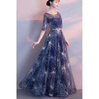 Prom Dress Blue, Navy Blue Prom Dress, Lace Prom Dress, Long Prom Dress ,1786