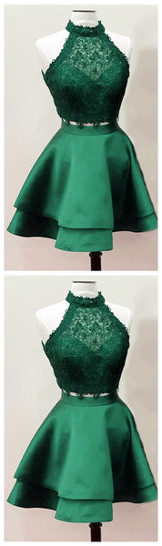 Dark Green Homecoming Dresses,Emerald Green Homecoming Dresses,Two Piece Homecoming Dress,JJ181