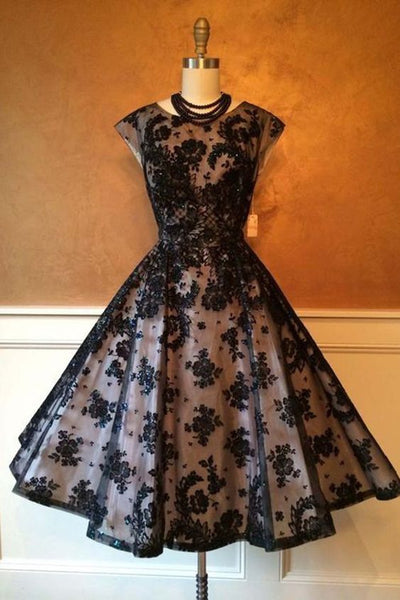 Black organza applique round neck homecoming dresses,formal dresses,homecoming dress,1820