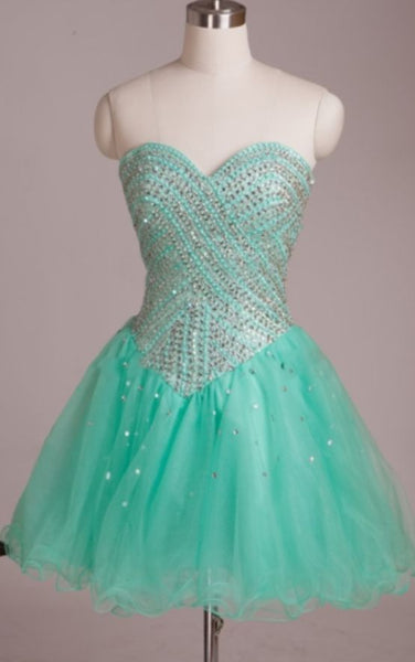 Mint Sweetheart Beaded Mini Homecoming Dress,1838