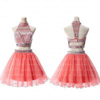 Sexy Coral Two Pieces Rhinestone Beaded homecoming  dresses, homecoming dress,1839