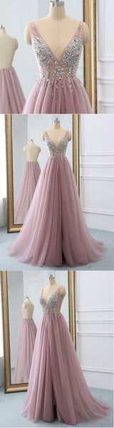 Pink tulle v neck sequins long open back senior prom dress, evening dress,JJ184