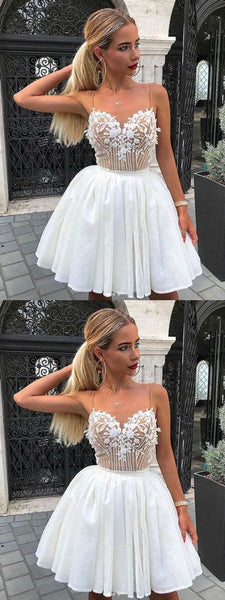White v neck tulle lace applique short prom dress, white evening dress,JJ187
