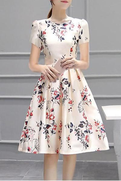 Round Neck Inverted Pleat Floral Printed Puff Sleeve Round Neck Short Sleeve Skater Dress,homecoming dress,1883