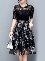 Exquisite Floral Hollow Out Midi Skater Dress,homecoming dress,1884