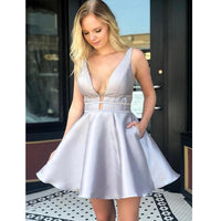 Most Popular V Neck Open Back Sexy Cheap Short Homecoming Dresses,JJ18