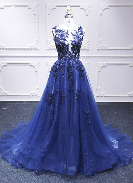 Deep Blue Tulle Open Back Long A Line Pageant Prom Dress, Lace Evening Dress from Sweetheart Dress