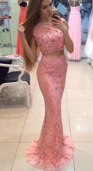 Elegant Pink Two Piece Mermaid Long Prom Dresses Lace Evening Dresses,1913