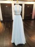 Blue Halter Sleeveless Backless Prom Dresses Beaded Evening Dresses,1914