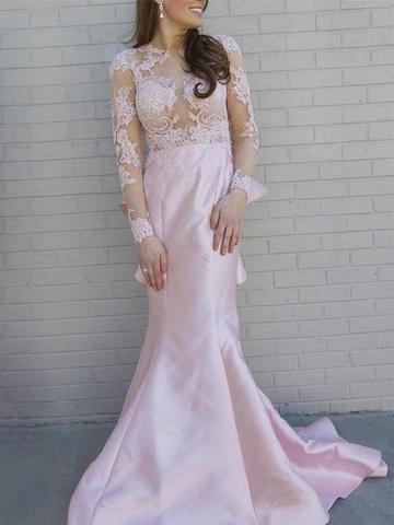 Pink Long Sleeve Open Back Mermaid Prom Dresses Lace Evening Dresses,1915