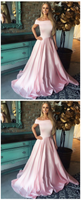 Romantic Off Shoulder Sweep Train Pink Prom Party Dress,JJ191