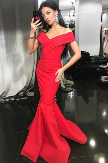 Elegant Red Off Shoulder Mermaid Prom Dresses Sleeveless Evening Dresses,1922