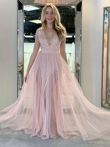 Sexy Pink Sleeveless Lace Appliques Prom Dresses Side Slit Evening Dresses,1925