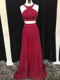 Burgundy Two Pieces Sleeveless A Line Long Prom Dresses With Crystals,1926