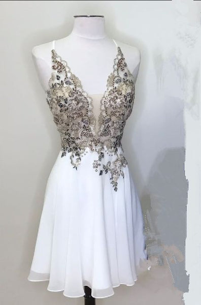 White Homecoming Dress with Appliques,1938