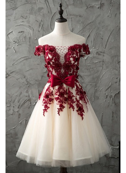 Burgundy, Appliques, Ivory,homecoming dress,1957