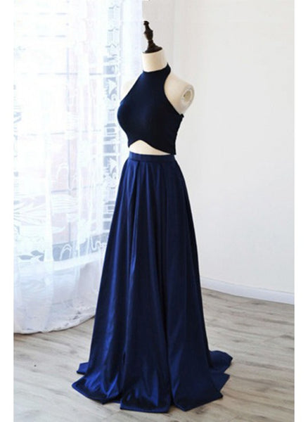 Simple, Two Piece, Navy, Long prom dress,1965