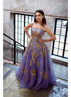 Sweetheart Gold Appliques Lavender Tulle Long Formal Prom Dress, Strapless Evening Dress,1966