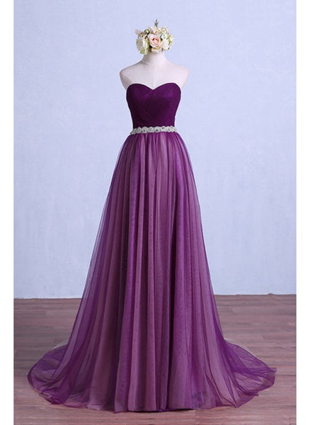 Purple Tulle Strapless Beaded Long Pageant Prom Dess, ¸evening Dress,1967