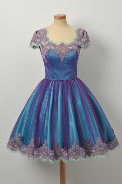 Elegance Cap Sleeves Purple Lace Edge Zipper Royal Blue Dress ,homecoming dress,1987