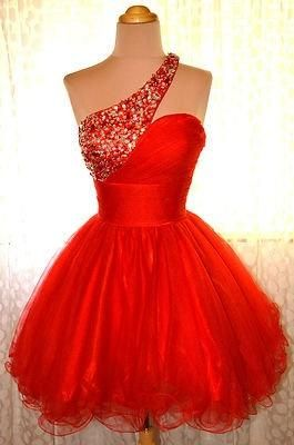 One Shoulder Homecoming Dress,Red Homecoming Dresses,Sweet 16 Dress, Homecoming Gowns ,homecoming dress,1996