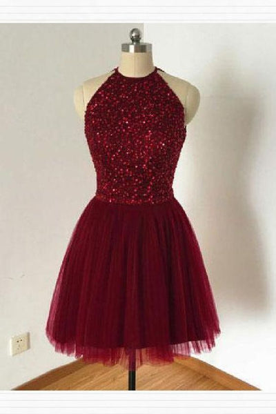 Customized Dazzling Burgundy Homecoming Dress, Open Back Homecoming Dress,2000