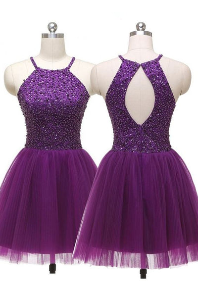 Sexy Jewel Straps Sleeveless Open Back Purple Homecoming Dress Sequins,2001