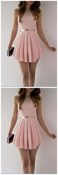Simple A-Line Scoop Sleeveless Satin Pink Short Homecoming Dress With Pleats,JJ200