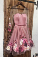 Long Sleeve Pink Tulle 3D Flower A Line  Dress, Pink Short Homecoming Dress,2010