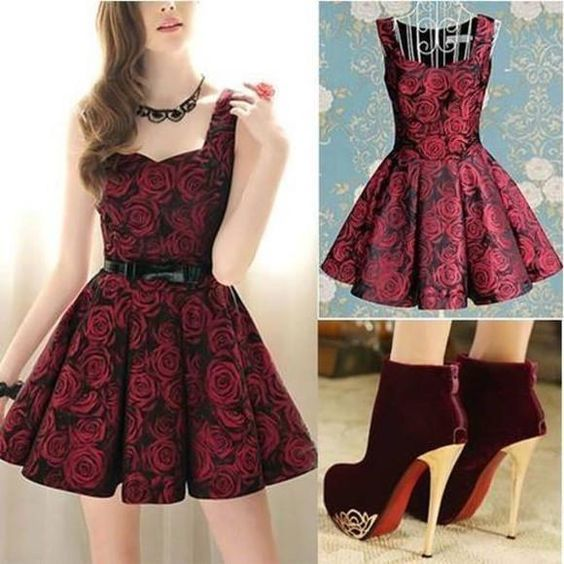 Elegant roses print nice dress,homecoming dress,2019