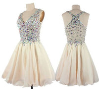 Handmade Short Chiffon V-neck Homecoming Dresses,Sparkly Graduation Dresses,2045