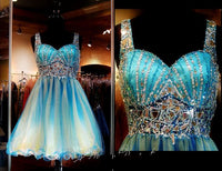 Colors Homecoming Dresses Real Pictures Sweetheart Neckline Beaded Rhinestones Tulle A Line Sweet 16 Gowns with Beaded Straps,homecoming dress,2051