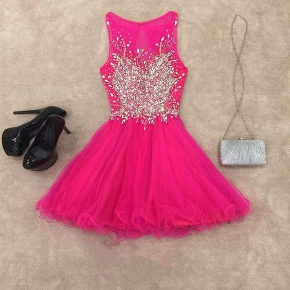 Homecoming Dress,chic dresses,short gowns,pink homecoming dress,short cocktail dresses ,elegant gowns ,2076
