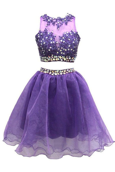 Two Pieces A-line Jewel Knee Length Tulle Homecoming Dress With Beads Appliques,2079