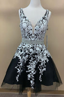 Short Black Homecoming Dress with White Lace,2083