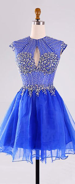 Open Back  Dresses with a Sexy Keyhole, Royal Blue Cap Sleeve Short  Gowns, High Neck Beaded Homecoming Dress,2090