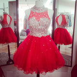 Red Beading Short  Dresses,Tulle Homecoming Dress,Open Back Party Dress,2098