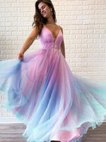 Ombre Prom Dress, Spaghetti straps V neck Tulle Colored Prom Dresses, Wedding Party Gowns, Evening Party Gowns, Wedding Guest Dress,
