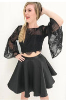 Two piece black short homecoming dresses, 2 piece bell sleeves ,2118