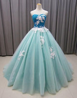 Blue Prom Dress, Tulle Prom Gown, A-Line Prom Dress, Appliques Prom Gown,2135