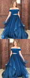 two piece tulle prom dresses, off the shoulder senior prom dresses, fromal prom gowns for teens,JJ213