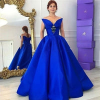 Blue Elegant Crystal Floor-Length Ball Gown Satin, prom dress,2171
