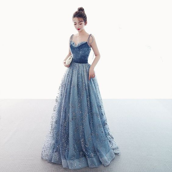 Luxury / Gorgeous Ocean Blue Suede Prom Dresses 2019 A-Line / Princess Spaghetti Straps Sleeveless Glitter Tulle Floor-Length / Long Ruffle Backless Formal Dresses,2175