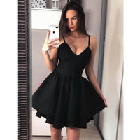 Black Popular Spaghetti Strap Simple Cheap Short Homecoming Dresses, JJ21