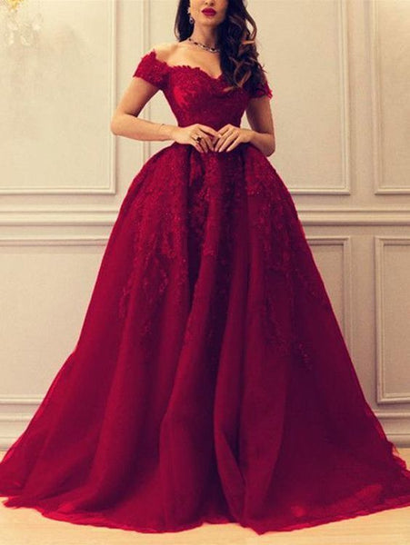 Ball Gown Burgundy Prom Dress Lace African Off The Shoulder Prom Dress