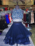 Two Piece Ruffles Ball Gown Homecoming Dresses With Ombre Sequins And Beaded,2222